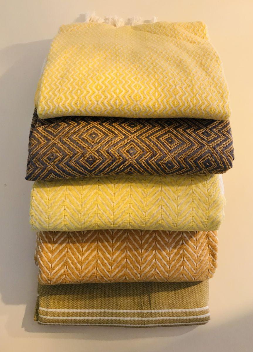 Hamamdoeken in geel nuances